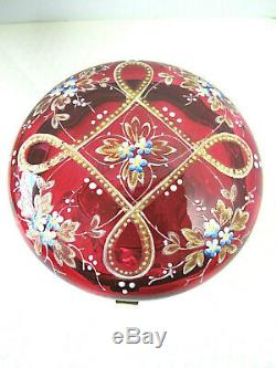 Antique Moser Cranberry Glass Hinged Powder/Trinket Dish Enamel Decor Footed
