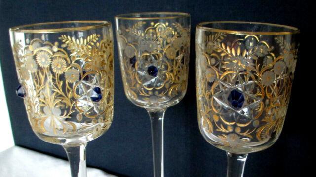 Antique Moser Cut Glass Intaglio Gold Gilt Rare 3 Goblet Stem Set Blue Jewel