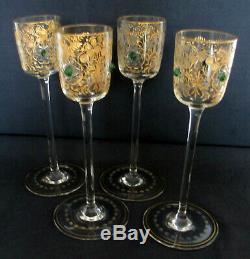 Antique Moser Cut Glass Intaglio Gold Gilt RARE 4 Goblet stem set Green Jewel
