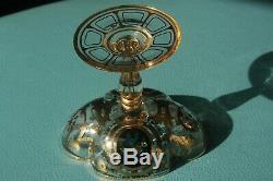 Antique Moser Lobmeyr Gold Black Floral Quatrefoil Sherbet Champagne Glass