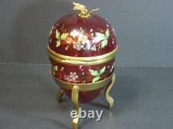 Antique Moser Victorian Enamel Cranberry Art Glass Egg-Shaped Box Hinged Floral