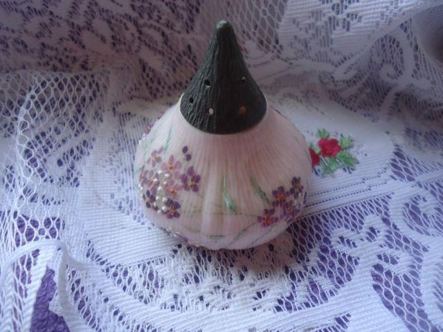 Antique Mount Mt Washington Hand Painted Purple Floral Glass Fig Sugar Shaker