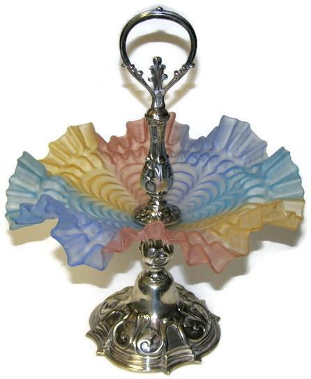Antique Mt Washington Rainbow Satin Glass Ruffled Bowl Silverplate Pedestal