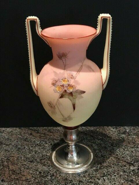Antique Mt. Washington Victorian Burmese Vase Sterling Silver Base Rare