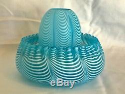 Antique Nailsea English Art Glass Blown Blue & White 3 Piece Fairy Lamp