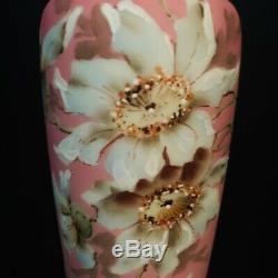Antique Nakara Art Glass Vase Victorian Antique CF Monroe Hand Painted Vase