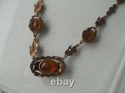 Antique Necklace floral amber topaz glass stones Gold fill victorian art nouveau