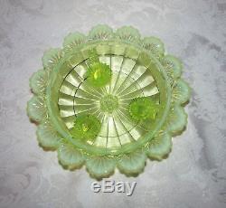 Antique Northwood Opalescent Vaseline Covered Dish Klondyke Circa 1900