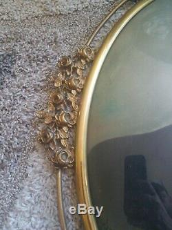 Antique Oval Brass Ornate Victorian Art Nouveau Frame Convex Bubble Glass Milita