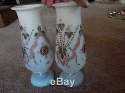 Antique Pair Mantle Vases pink & green enamel floral Victorian Art Glass Bristol