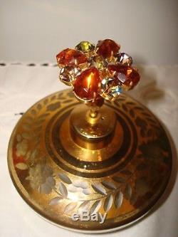 Antique Pair Moser Victorian Aqua Opaline Perfume Bottles9 1/2 Tallsigned
