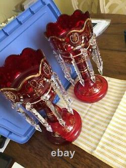 Antique Pair Of Czech Bohemian Cranberry Red Mantle Lusters Hand-painted