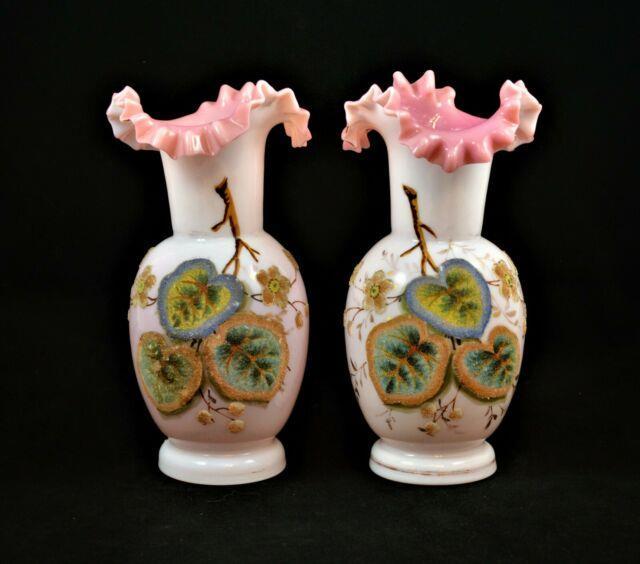 Antique Pair Of Victorian Bohemian Art Glass Vases Coralene Pink