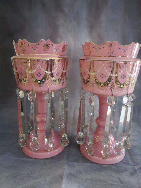 Antique Pair Pink Victorian Art Glass Mantle Lusters W Rare Drop Ball Prisms