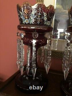 Antique Pair Ruby Red Mantle Lustres Hand-Blown Glass and Hand-Painted with Prisms