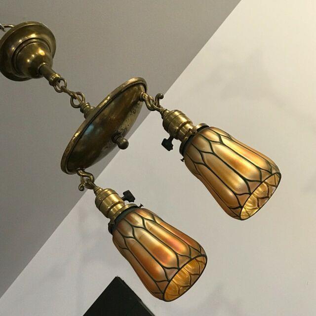 Antique Petite Victorian Deco Brass Pan Art Glass Aurene Shades Chandelier