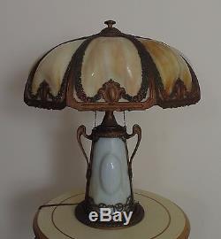Antique Puffy Bent Slag Glass Table Lamp Victorian Art Nouveau