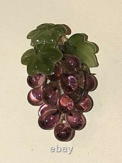 Antique Purple Grape Cluster Leaf Art Gass Brooch Pin Art Nouveau Victorian Vtg