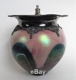Antique RINDSKOPF Bohemian IRIDESCENT Blue PULLED FEATHER Art Glass BISCUIT JAR