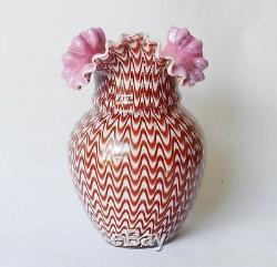 Antique Rare Stevens & Williams c1890 Pull-Up Ruffled Cased Glass Vase Victorian