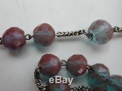 Antique Rare Victorian Saphiret Silver Necklace Rosary Czech Glass Art Stones