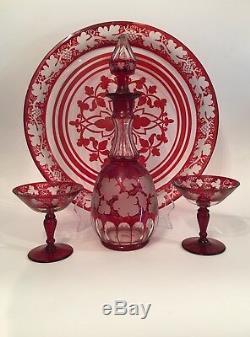 Antique Ruby Flash Decanter Tray 2 Glasses Grape Vine Pattern Bohemian/ Czech