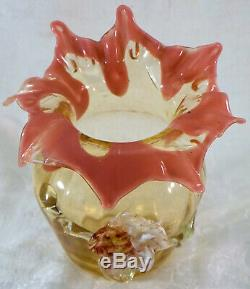 Antique STEVENS & WILLIAMS Art Glass Vase With Applied Flower Leaves Victorian