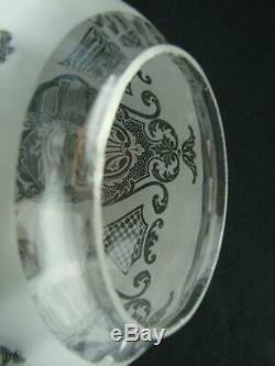 Antique Satin Etched Glass Globe Duplex Oil Lamp Shade Art Nouveau Design
