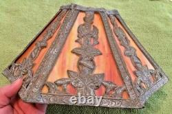 Antique Slag Glass Panel Lamp Shade Art Nouveau Victorian Decor Collectible