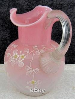 Antique Stevens & Williams Pink Opalescent Diamond Quilted Glass Pitcher