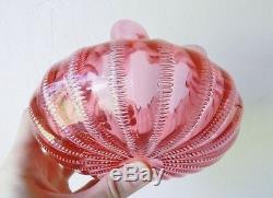 Antique Stevens & Williams c1885 Jewell Bubble Cranberry Victorian Glass Vase