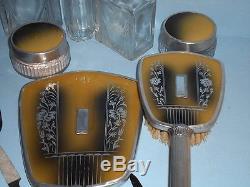 Antique VICTORIAN ART DECO Ladies TRAVEL VANITY SETLeather Zip CaseGLASS JARS