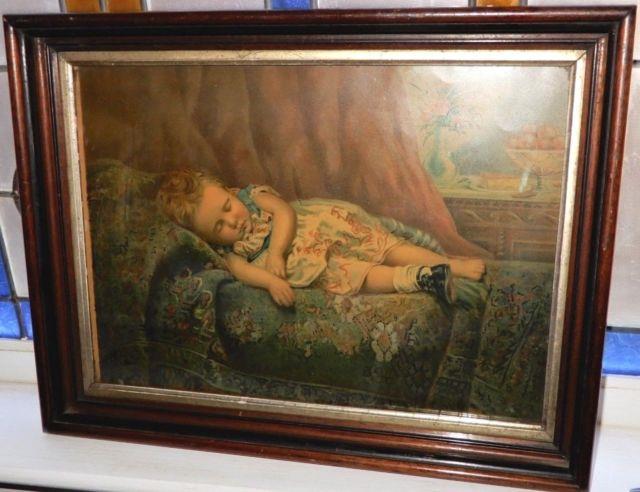 Antique Victorian Girl Sleeping Lost Shoe Chromo Print Walnut Frame Old Glass