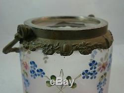 Antique VICTORIAN Satin Glass Silverplate Handpainted BISCUIT BARREL Cookie Jar