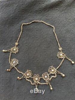 Antique VICTORIAN ornate Gold Over Metal Aqua Blue art Glass bead Necklace