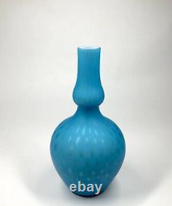 Antique Victorian 9 Blue Bubble Air Trap Double Gourd Satin Art Glass Vase
