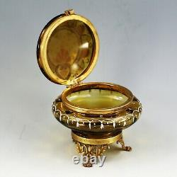 Antique Victorian Amber enamelled art glass hinged trinket jewelry BOX ormolu