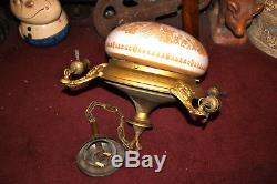 Antique Victorian Art Deco 4 Light Ceiling Chandelier-White Glass Globe-Gold