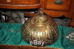 Antique Victorian Art Deco Brass Chandelier Ceiling Light Fixture-Green Glass