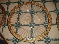 Antique Victorian Art Deco Cut Etched Glass Dinner Plates-Gold Floral Trim-7 PCS