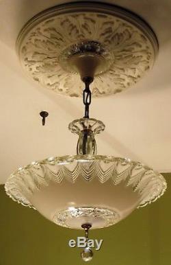 Antique Victorian Art Deco Glass Ceiling Light Fixture Chandelier