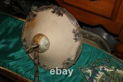 Antique Victorian Art Deco Hanging Glass Chandelier Lamp Shade Bow Tie Patterns