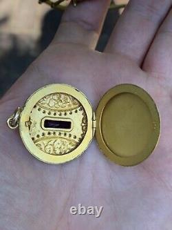 Antique Victorian Art Deco Nouveau Pansy Rhinestone Gold Filled Locket Pendant