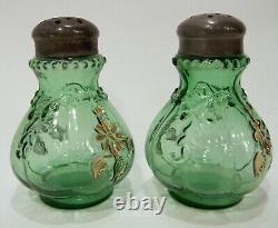 Antique Victorian Art Glass EAPG Salt & Pepper Shakers Ivy Scroll Gold Enamel H2