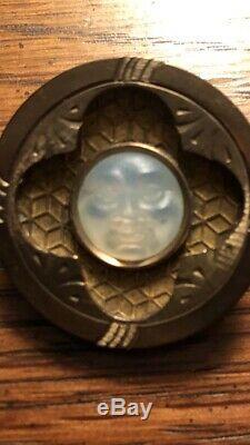Antique Victorian Art Glass Man in the Moon Brass Brooch, c 1880