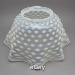 Antique Victorian Art Glass Opalescent Hobnail Oil Lamp Light Fixture Shade