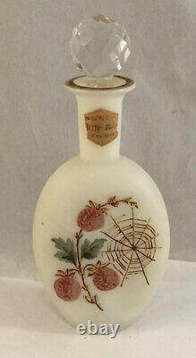 Antique Victorian Art Glass Opaque Perfume Bottle With Berries And Spider Web