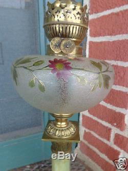 Antique Victorian Art Glass Painted Floral Onyx Base Table Peg Lamp Converted