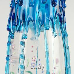Antique Victorian Art Glass Vase w Blue Rigaree & HP Floral, Harrach Moser 13