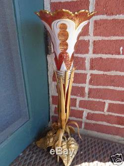 Antique Victorian Art Nouveau 20 Moser Bohemian Cranberry Trumpet Vase Bronze
